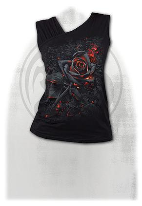 BURNT ROSE - Gathered Shoulder Slant Vest Black